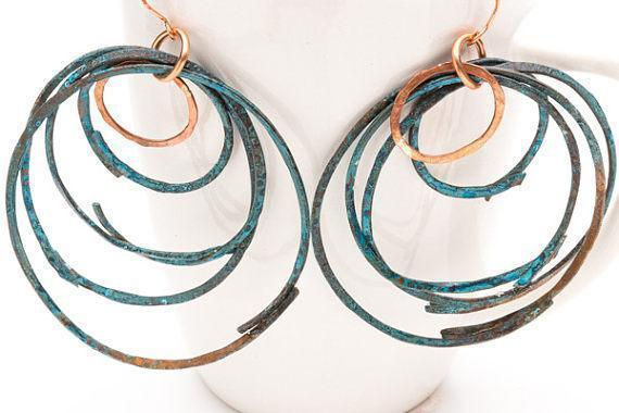 Large Ethnic Copper Blue Rustic Hoops – Earrings | Tinklet Jewelry Earring Tinklet
