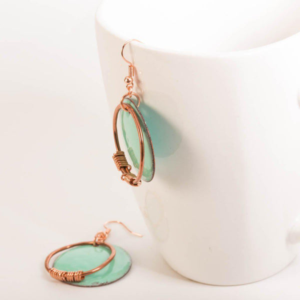 Earring - Light Green Copper Enamel Earrings - Dangles | Tinklet Jewelry