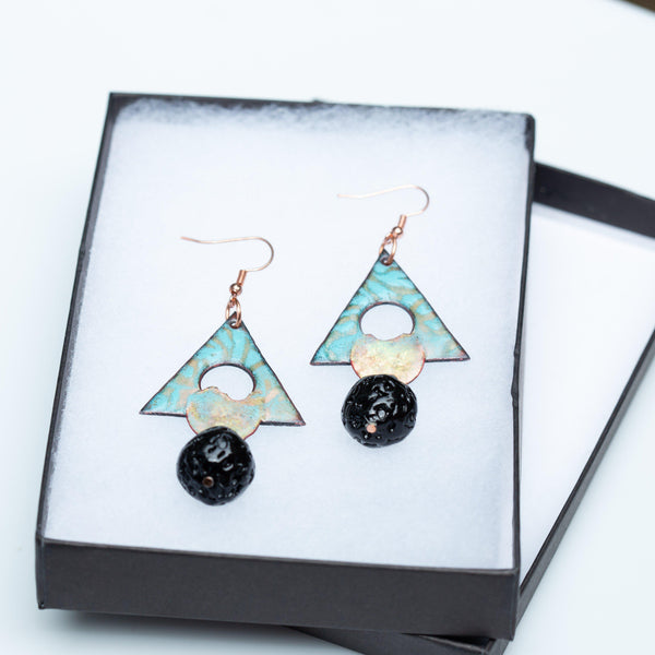 Earring - Light Green Enamel Copper Earrings, Geometric Shaped Earrings, Copper Triangle Earrings | Tinklet Jewelry