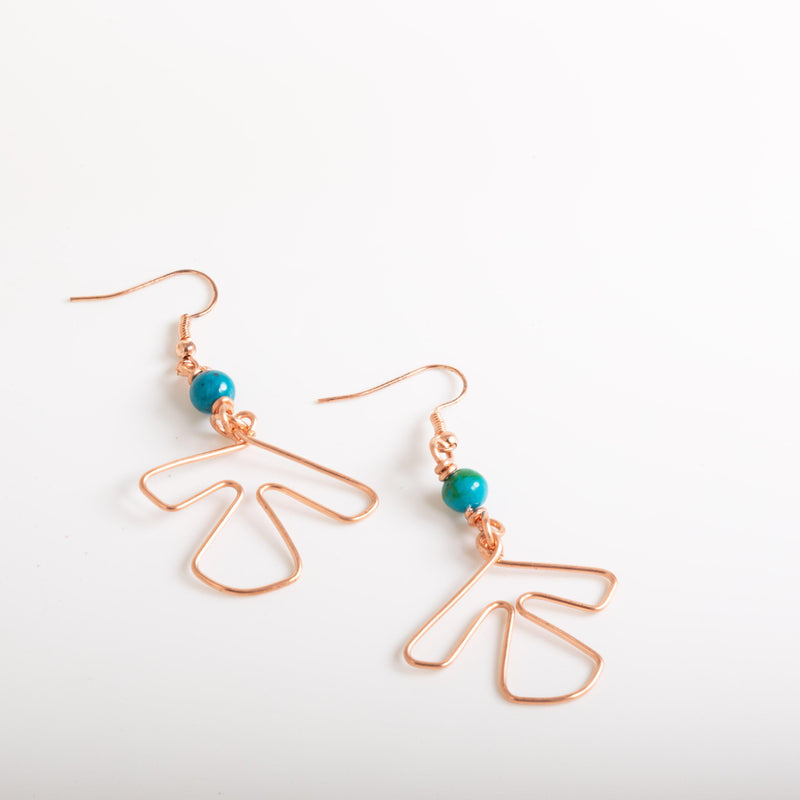 Earring - Lightweight Simple Copper Wire Earrings - Beaded | Tinklet Jewelry
