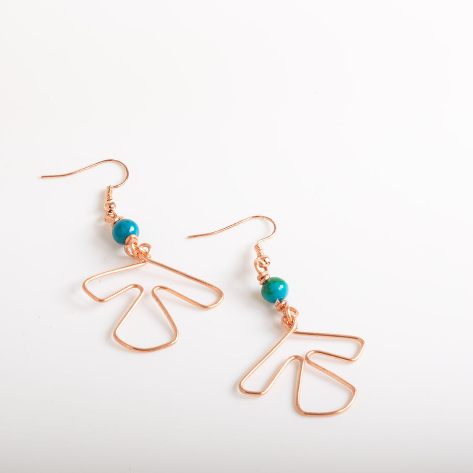 Lightweight Simple Copper Wire Earrings - Beaded | Tinklet Jewelry Earring Tinklet
