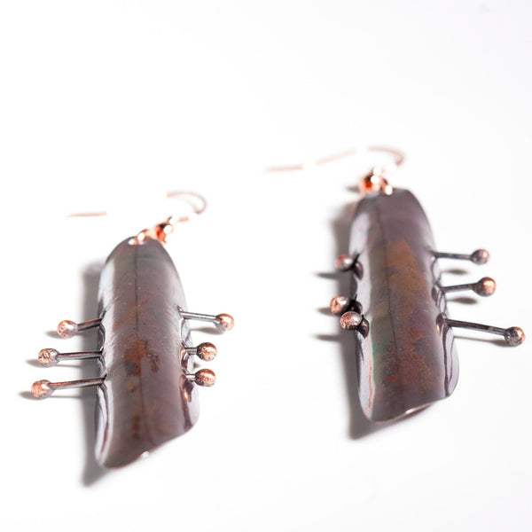 Earring - Long Dramatic Dark Copper Earrings | Dangles | Tinklet Jewelry