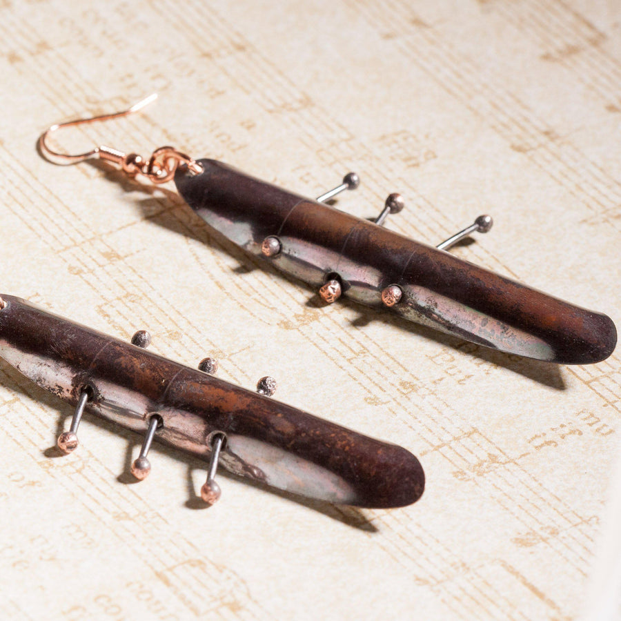 Long Dramatic Dark Copper Earrings | Dangles | Tinklet Jewelry Earring Tinklet