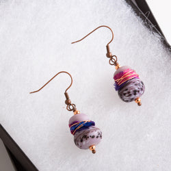Earring - Mauve Ceramic Beaded Copper Earrings, Tie Dyed Beaded Copper Earrings, Purple Beaded Earrings | Tinklet Jewelry