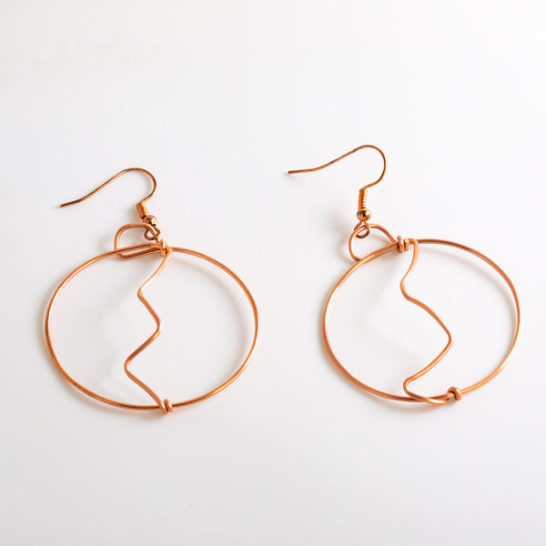 Earring - Medium Copper Wire Hoops - Earrings | Tinklet Jewelry