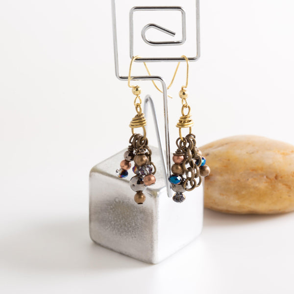 Earring - Mixed Metal Beaded Dangle Earrings, Brass Earrings With Chinese Crystals, Little Black Dress