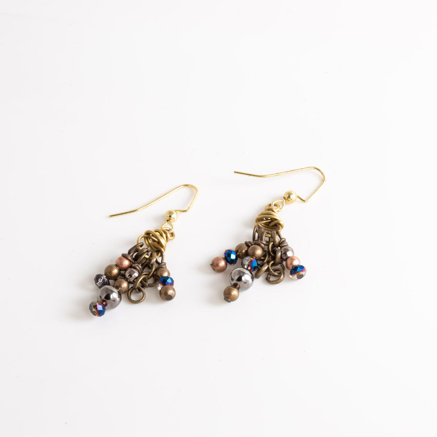 Mixed Metal Beaded Dangle Earrings, Brass Earrings with Chinese Crystals, Little Black Dress Earring Tinklet