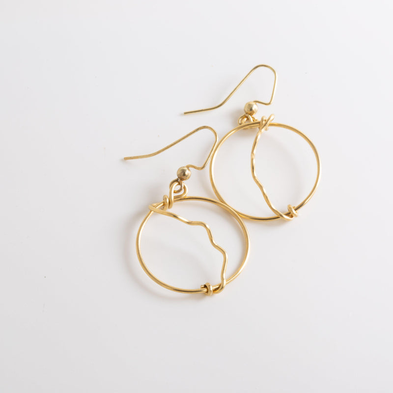 Earring - Modern Simple Brass Hoop Earrings | Dangles | Tinklet Jewelry