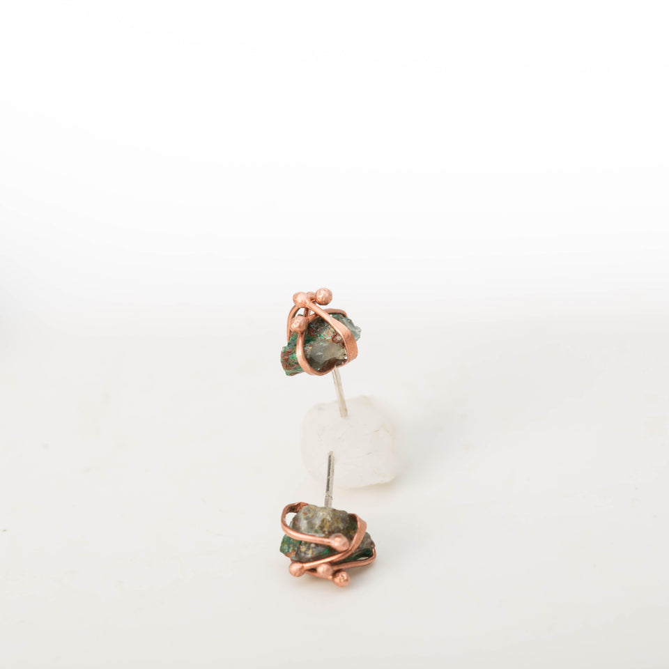 Natural Malachite Stone and Copper – Earrings | Tinklet Jewelry Earring Tinklet