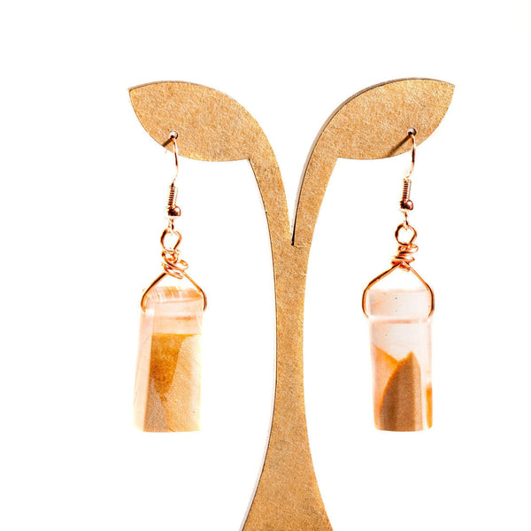 Earring - Resin And Wood Barrel Earrings | Dangles| Tinklet Jewelry