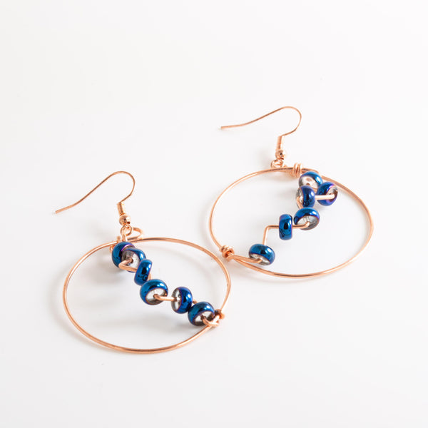 Earring - Royal Blue Beaded Copper Hoop Earrings, Medium Copper Hoop Dangle Earrings