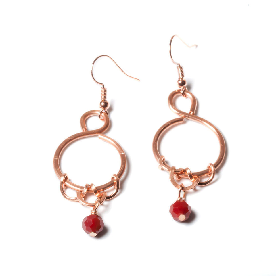 Earring - Ruby Red Copper Beaded Earrings | Dangles | Tinklet Jewelry