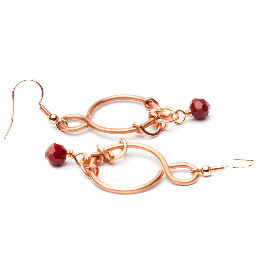 Ruby Red Copper Beaded Earrings | Dangles | Tinklet Jewelry Earring Tinklet