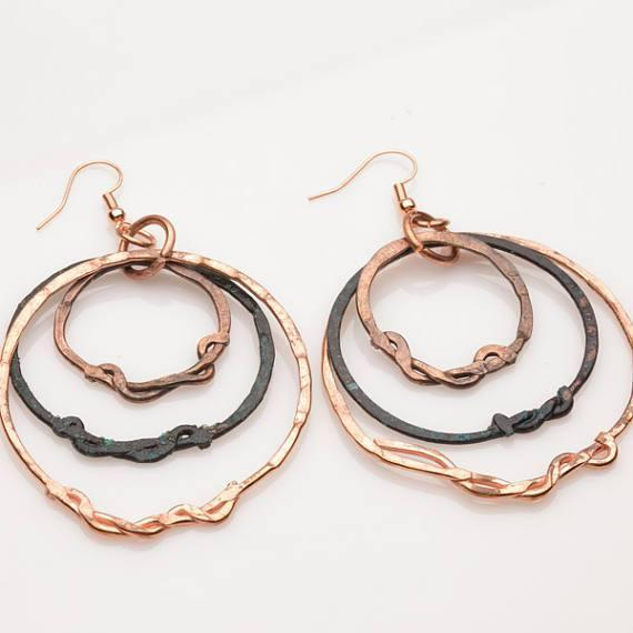 Earring - Rustic Tribal Copper Hoops – Earrings | Tinklet Jewelry