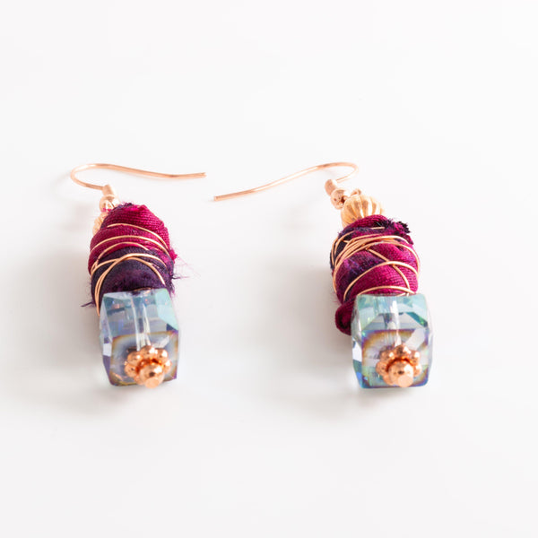 Earring - Sari Silk Ribbon Beaded Earrings – Copper | Tinklet Jewelry