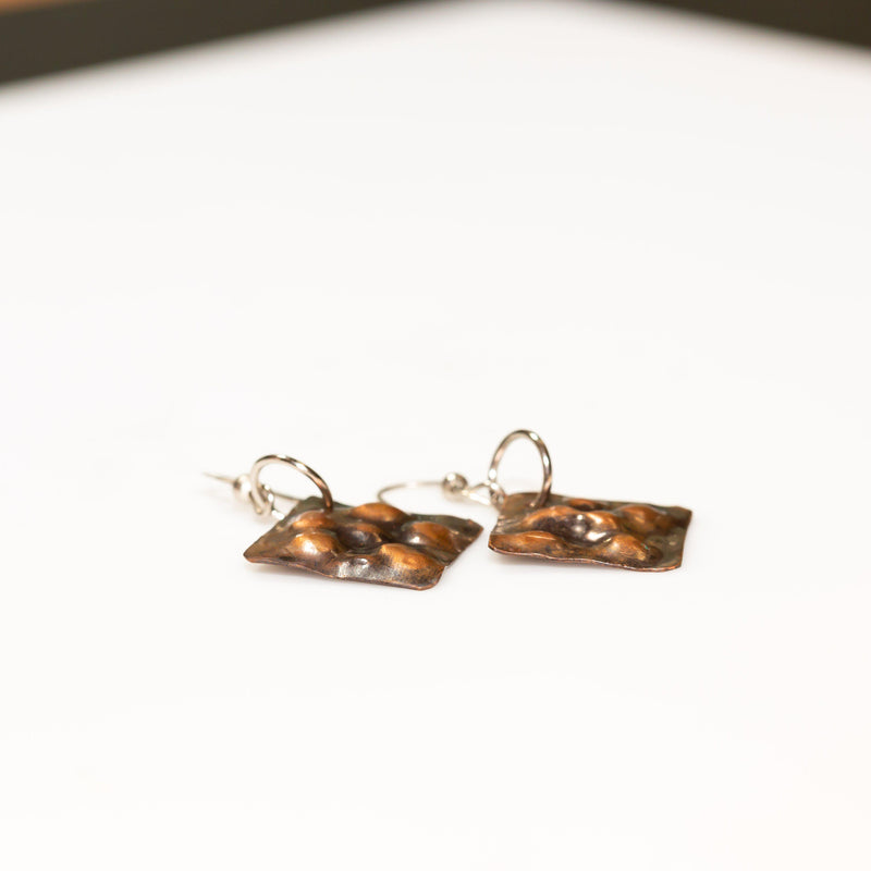 Earring - Simple Antiqued Small Copper Earrings - Square | Tinklet Jewelry