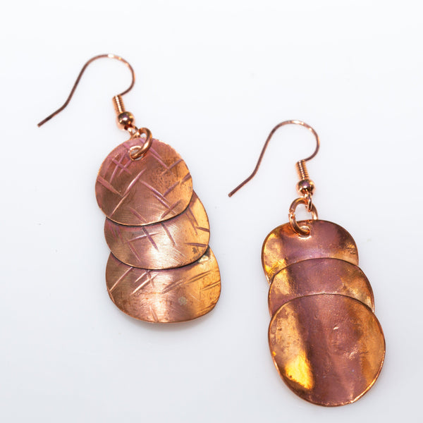 Earring - Simple Copper Earrings, Work Or Play Textured Copper Earrings, Casual Everyday Earrings