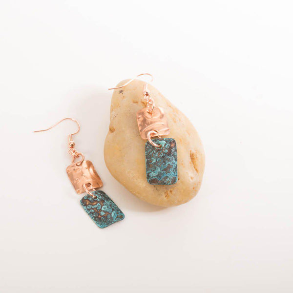 Earring - Square Blue Patina Earrings, Geometric Copper Earrings, Boho Earrings
