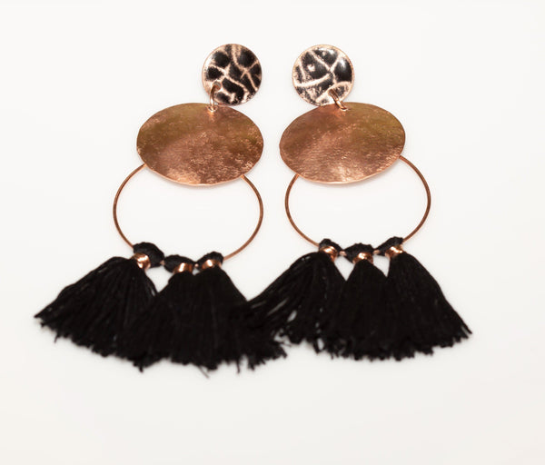 Earring - Tassel Earrings, Enamel Copper Earrings, Long Stud Tassel Fringed Copper Earrings