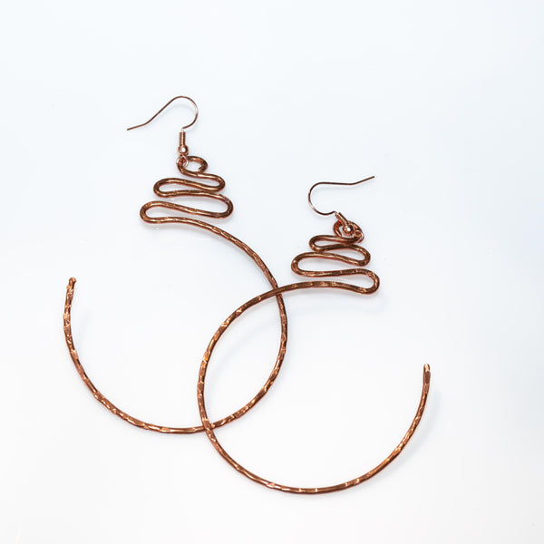 Earring - Textured Half Circle Copper Hoops – Dangles | Tinklet Jewelry