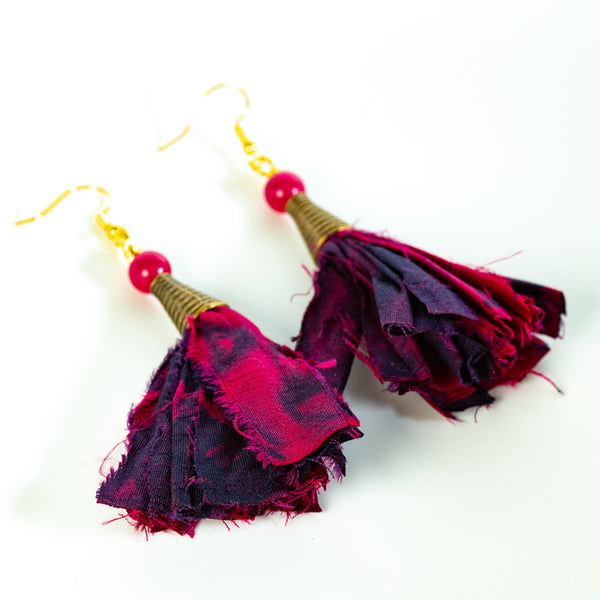 Earring - Tie Dyed Ribbon Tassel Earrings | Dangles | Tinklet Jewelry