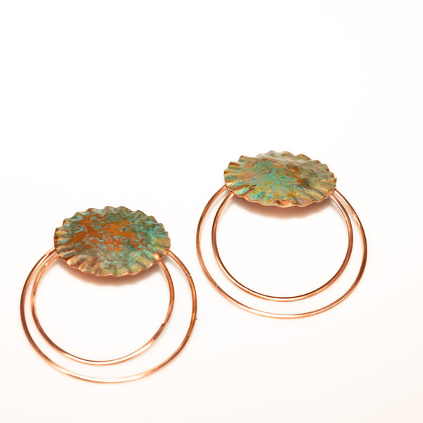 Earring - Turquoise Copper Statement Earrings - Studs | Tinklet Jewelry