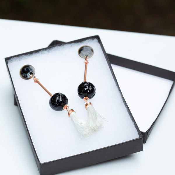 Earring - White Tassel Black Bead Copper Earring, Ball Drop Copper Earrings, Dressy Polymer Clay Earrings