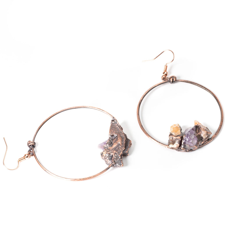 Natural Amethyst and Citrine Stone Copper Hoops | Tinklet Jewelry