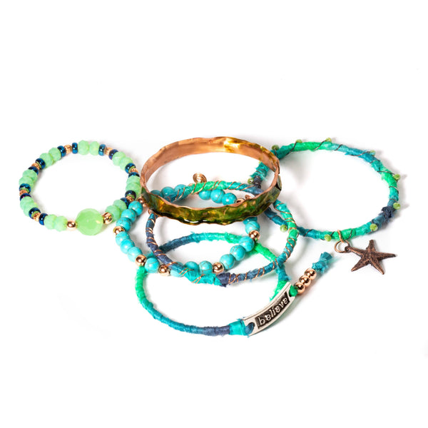 Stacking mix and match charm bracelets
