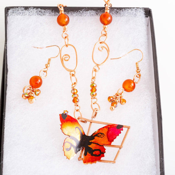 JEWELRY SET - Copper Butterfly Pendant – Beaded Necklace Set | Tinklet Jewelry