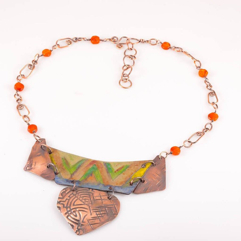 JEWELRY SET - Copper Enamel Statement Necklace – Beaded | Tinklet Jewelry