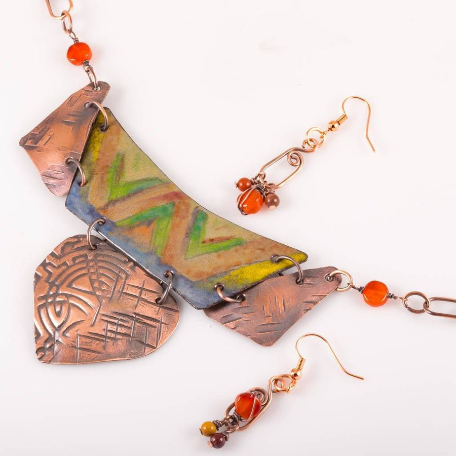 Copper Enamel Statement Necklace – Beaded | Tinklet Jewelry JEWELRY SET Tinklet