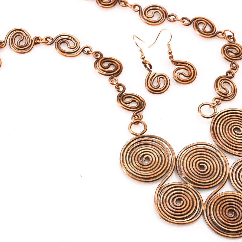 JEWELRY SET - Copper Wire Statement Necklace – Jewelry Set | Tinklet Jewelry