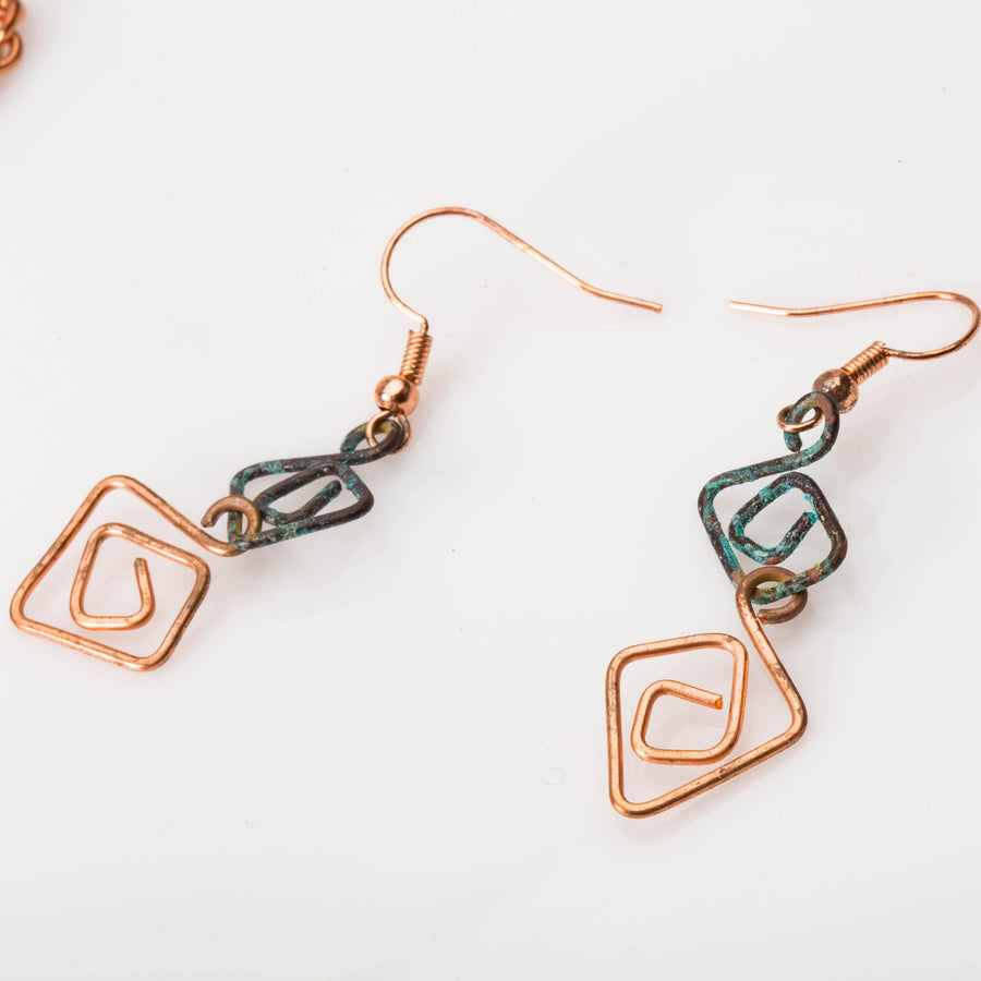 Eccentric Copper Wire Necklace, Hammered Jewelry Set, Rustic Blue Copper Set, Fashion Jewelry JEWELRY SET Tinklet