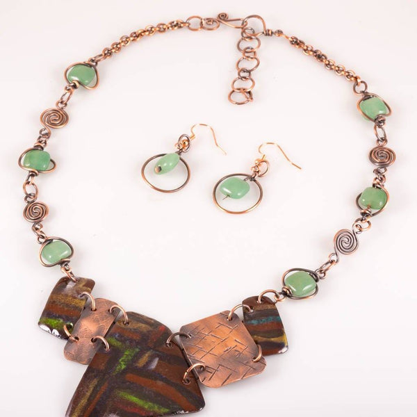 JEWELRY SET - Enameled Statement Necklace, Bib Style Choker, Jade Beaded Chain Necklace
