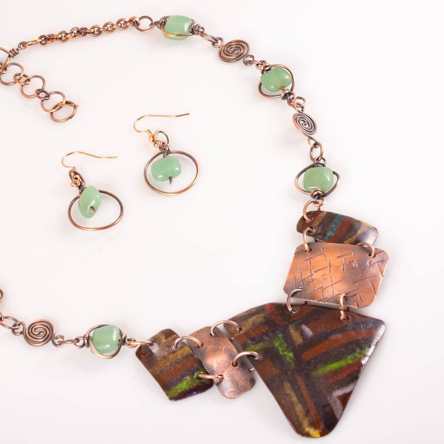 Enameled Statement Necklace, Bib Style Choker, Jade Beaded Chain Necklace JEWELRY SET Tinklet
