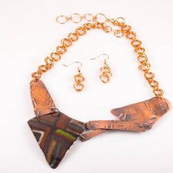 JEWELRY SET - Geometric Copper Enamel – Statement Necklace | Tinklet Jewelry