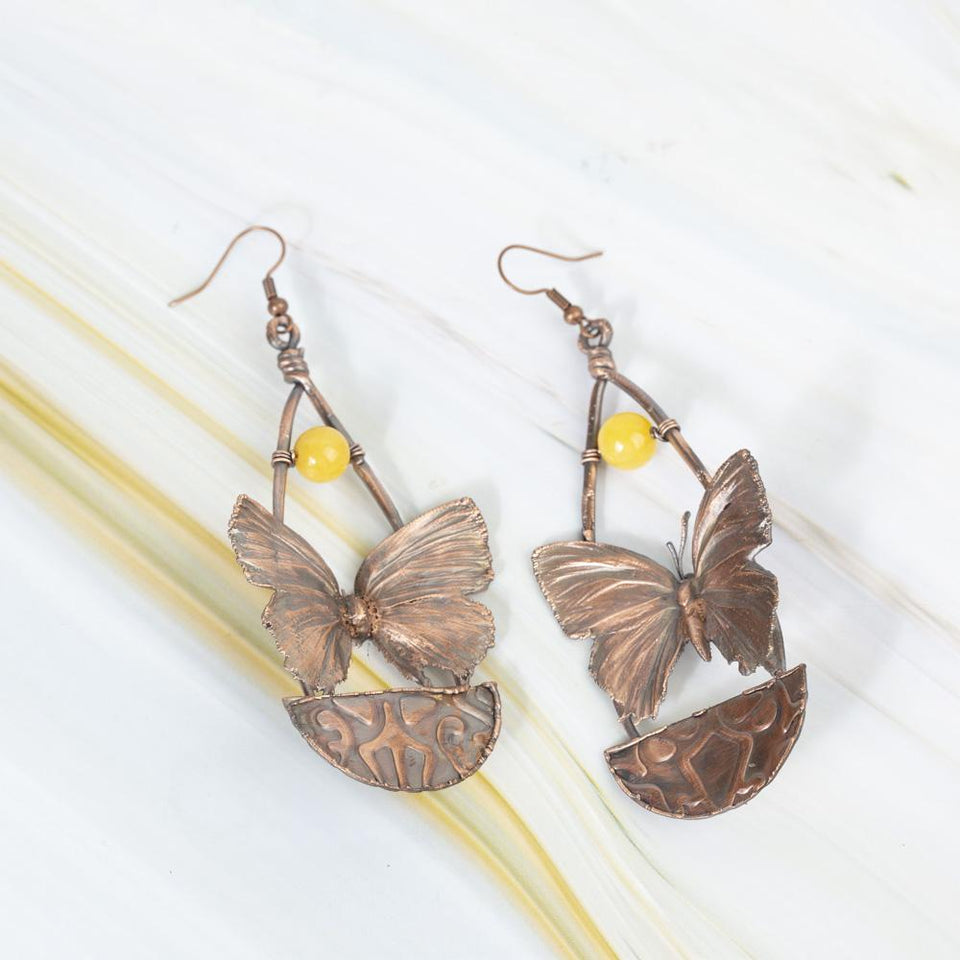 Real Butterfly Electroformed Copper Earrings | Tinklet Jewelry Earring Tinklet