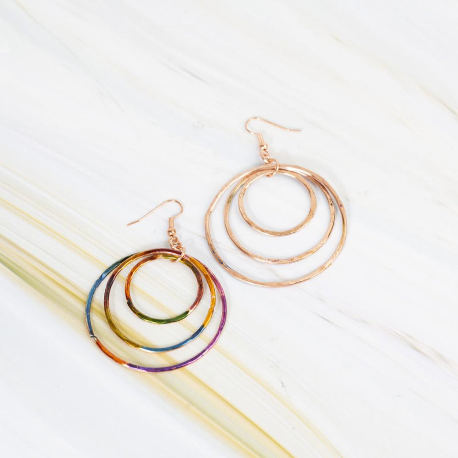 Fun Colorful Hippie Inked Copper Hoops | Tinklet Jewelry Earring Tinklet