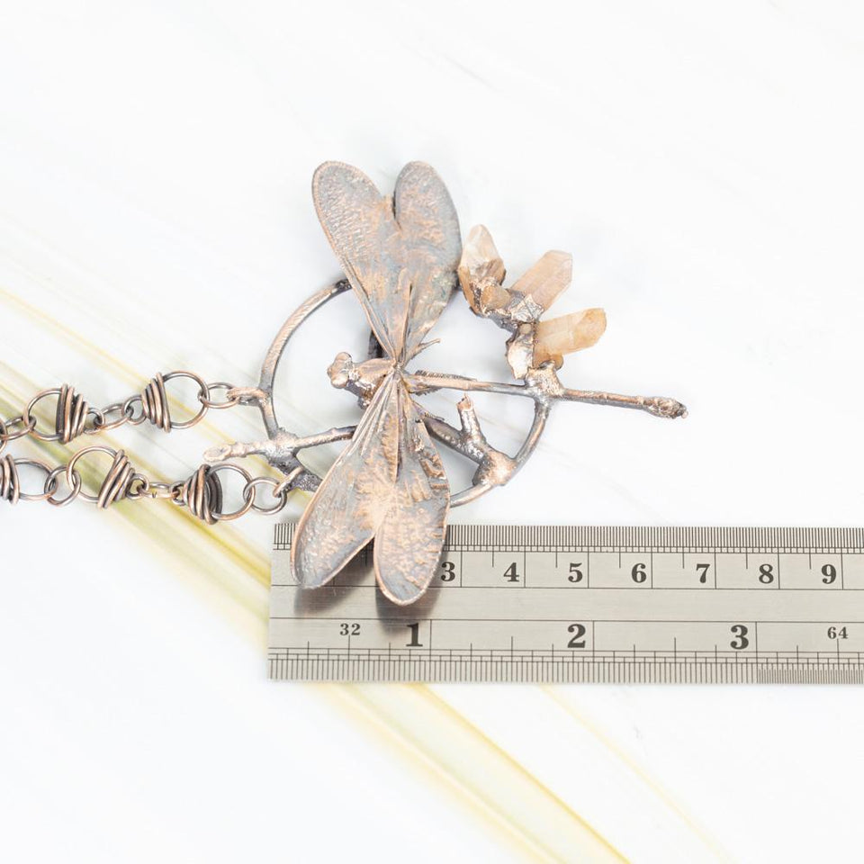 Natural Dragonfly Electroformed Copper Pendant Necklace | Tinklet Jewelry necklace/pendant Tinklet