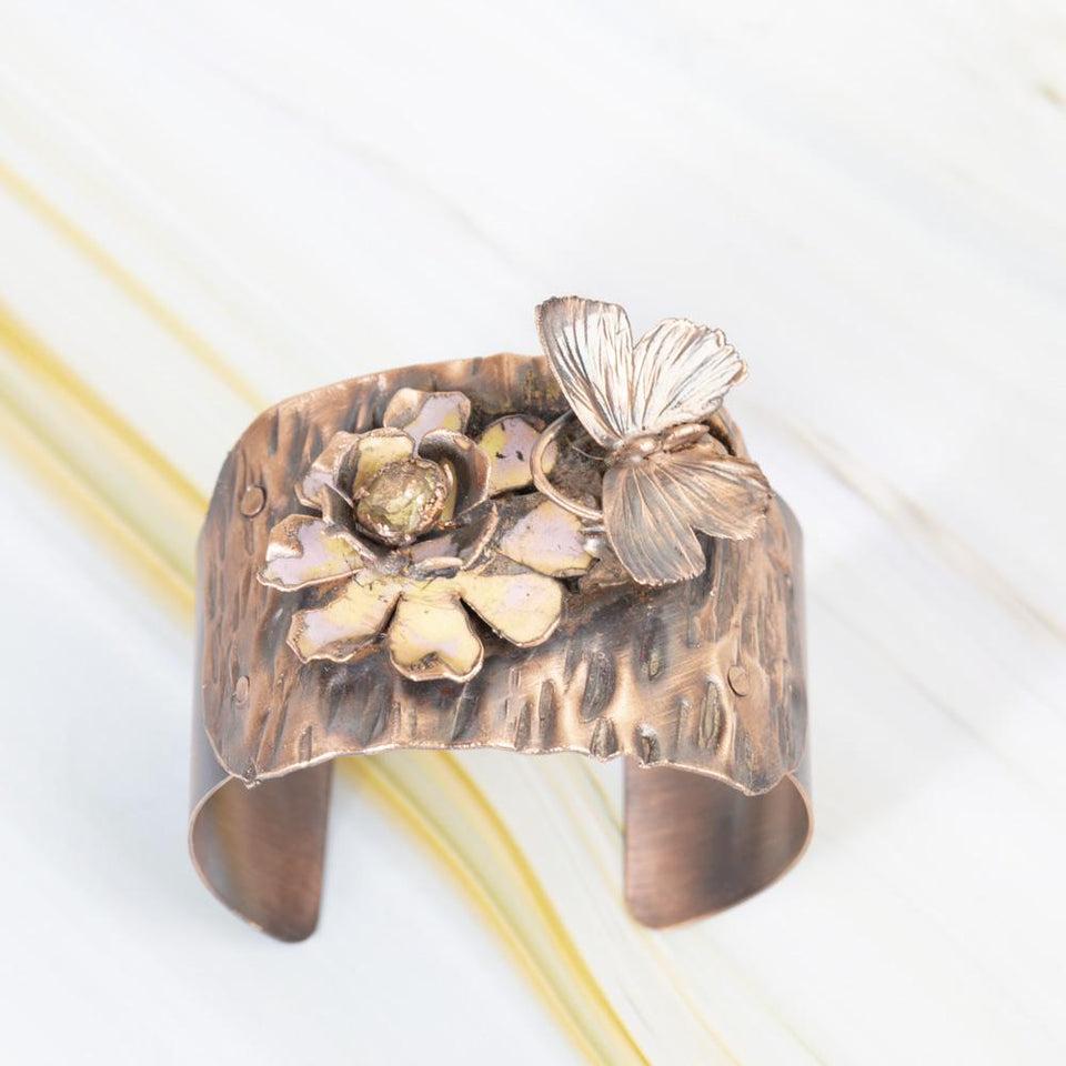Copper Cuff with Real Butterfly and Enameled Flower | Tinklet Jewelry Bracelet Tinklet