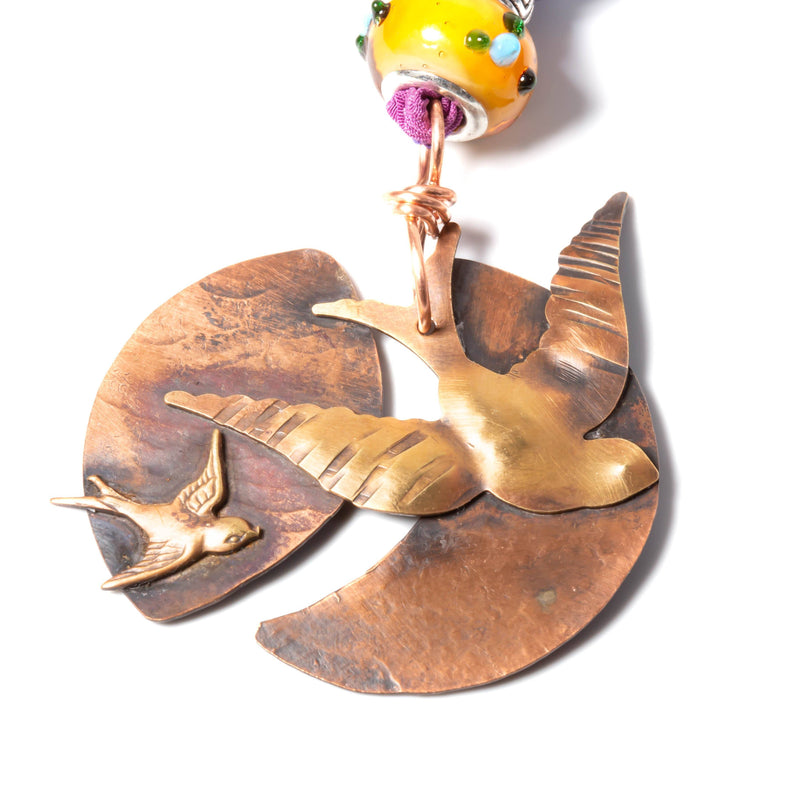Necklace/pendant - Copper & Brass Swallow Pendant | Necklace| Tinklet Jewelry