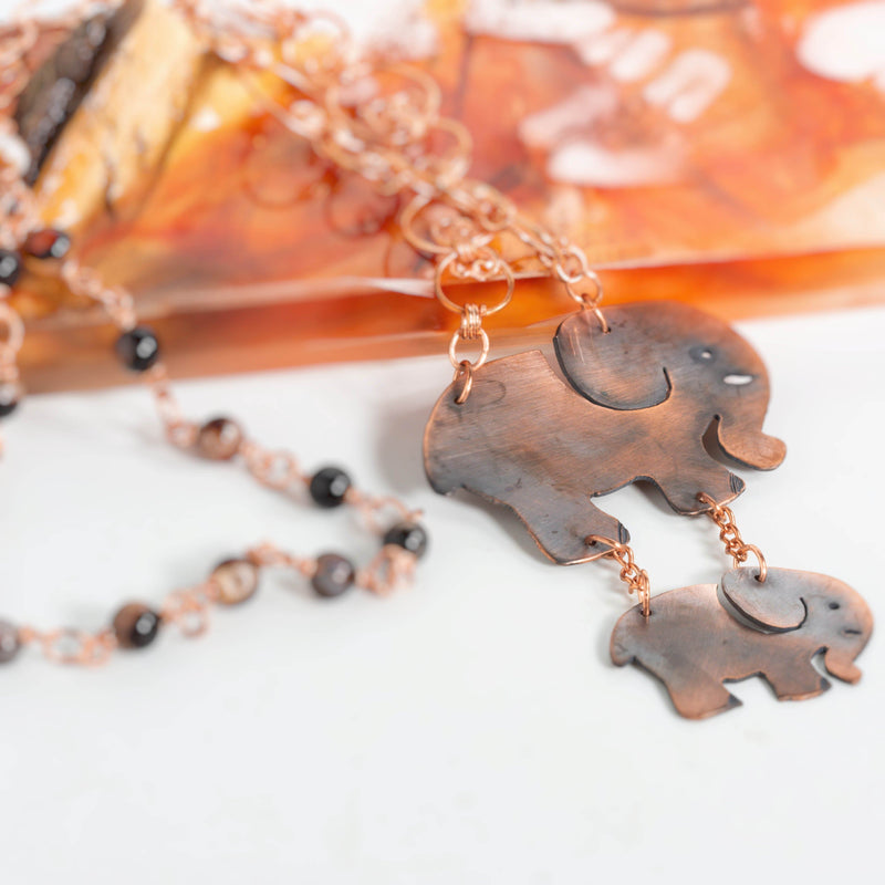 Necklace/pendant - Copper Elephant Pendant, Elephant Family Beaded Necklace, Black Jasper Beaded