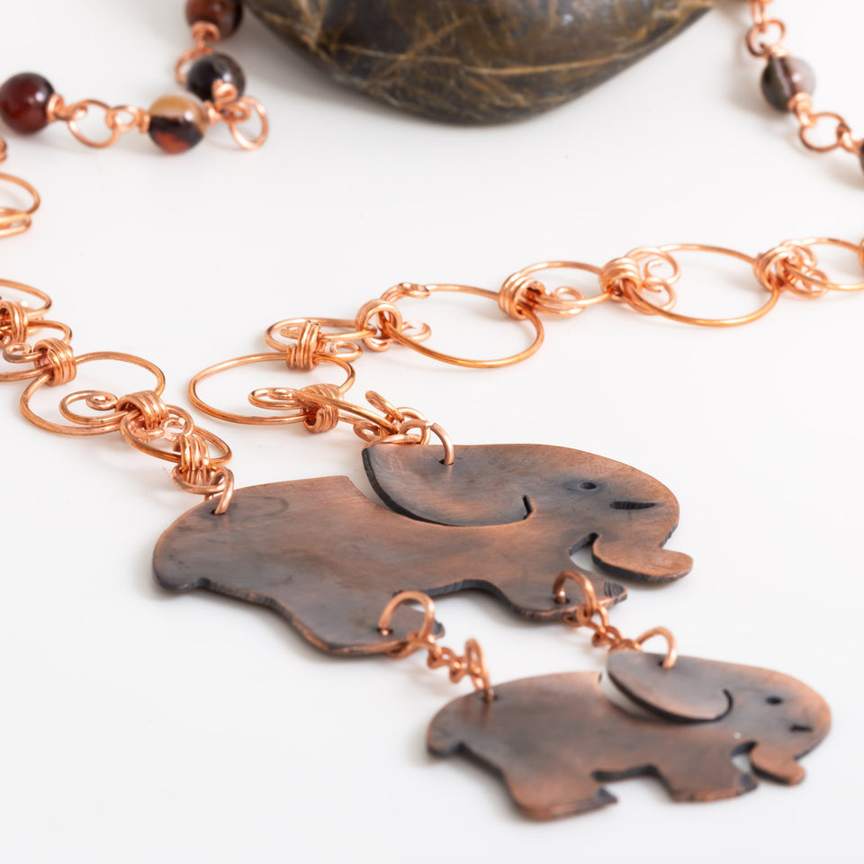 Copper Elephant Pendant, Elephant Family Beaded Necklace, Black Jasper Beaded necklace/pendant Tinklet