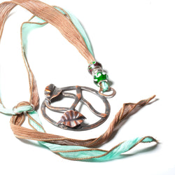 Necklace/pendant - Copper Leaves Pendant On Silk | Necklaces | Tinklet Jewelry