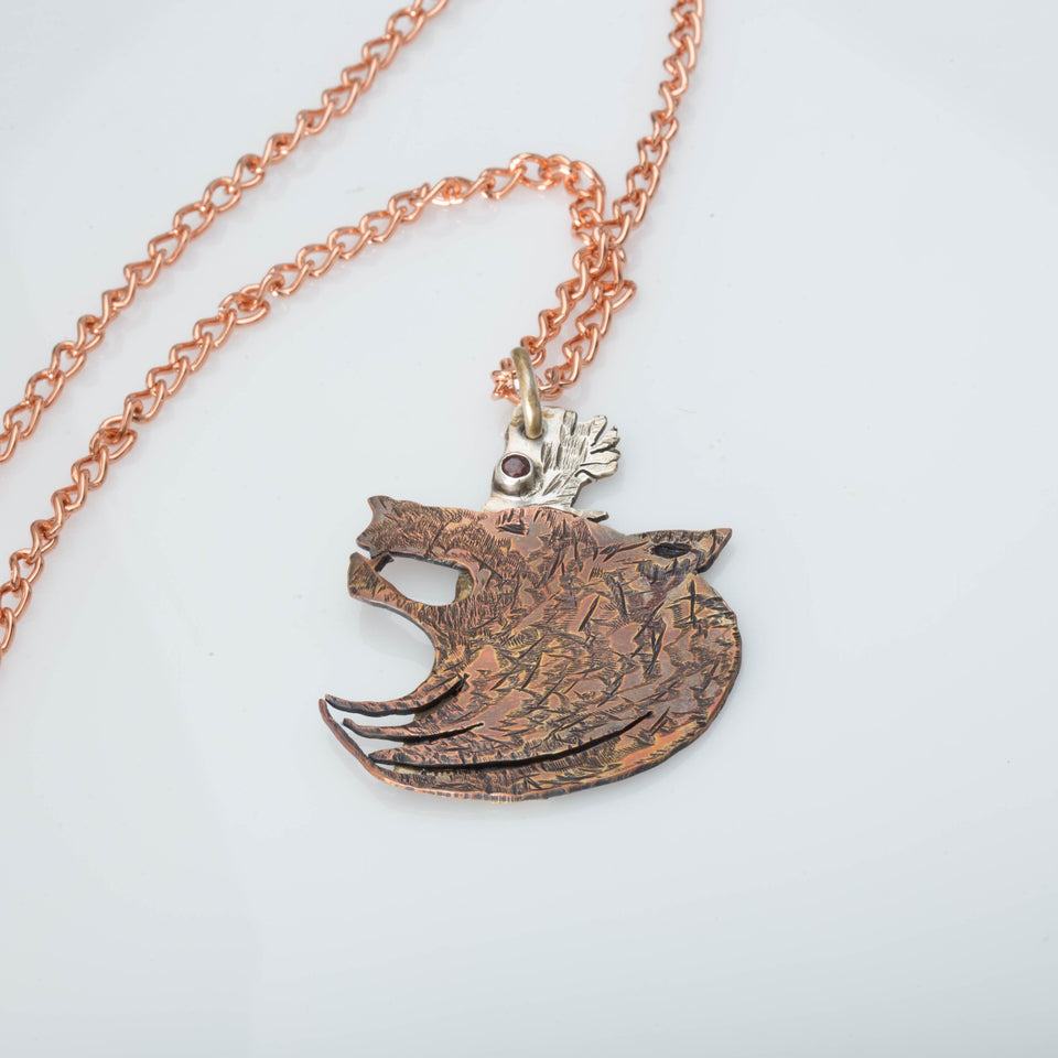 Necklace/pendant - Copper Wolf Head, Animal Jewelry, Mixed Metal Wolf, Tribal Wolf Pendant, Unisex