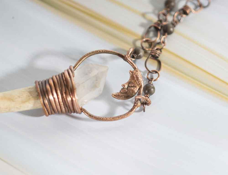 Witchy Woodland Deer Antler and Quartz Pendant | Tinklet Jewelry necklace/pendant Tinklet