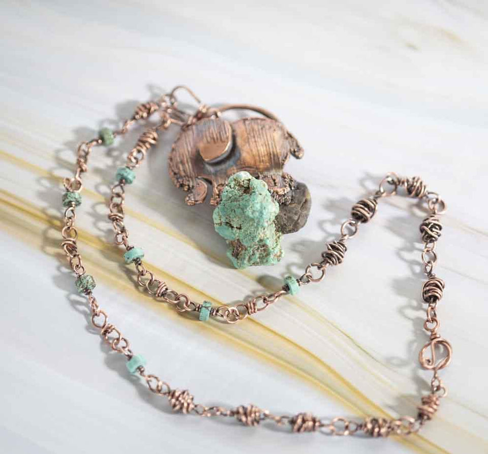 Turquoise Nugget and Copper Elephant Pendant | Tinklet Jewelry necklace/pendant Tinklet
