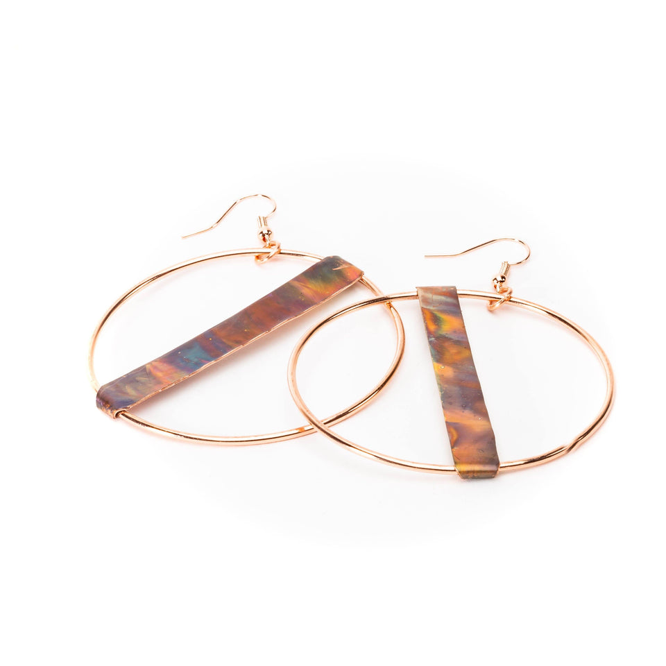 Large Fire Brushed Hippie Copper Hoop Earrings | Tinklet Jewelry Earring Tinklet Flamed