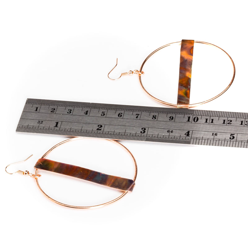 Large Fire Brushed Hippie Copper Hoop Earrings | Tinklet Jewelry